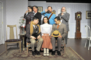 "The cast of the First Avenue Playhouse's production of ""The Underpants,"" includes: standing, from left,  Luci Samp, Charles Deitz, David S. Miles and Barry Prag; and seated, from left, Mark de la Rosa, Abagail Allen and Roberto Ferero. Courtesy First Avenue Playhouse"