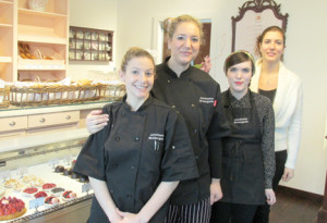 Antoinette Boulangerie sells freshly baked breads and French pastries. Pictured, from left, are pastry chef Gina Roselle-Broschart, co-owner and executive chef Zeynep Ozdemir, employee Megan Fisher and co-owner and general manager Ayca User. User and Ozdemir are sisters. By John Burton
