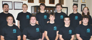 : The Red Bank Regional cyber security team has made it into the semi-finals of a national competition. The members are, from left, seated, Alex Dannecker, Mark Eulner, Tucker Machard, Tyler Birn andRyan Terpak, and from left standing, team mentor Jeremy Milonas. Cris Sochacki, Josh Even, Zach Carrano, Louis DiOrio, and team coach Mandy Galante. Missing is Christian Bonomo.