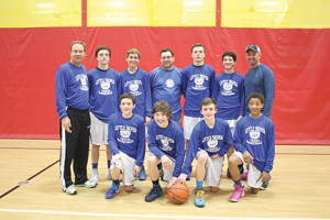 The Warriors, the Little Silver eighth-grade travel basketball team, is proud of its 14-1 record this season. The team members are: front row, from left, Noah Kralyevich, Luke Valentino, Logan Whelan and Devin Cooper; and back row, from left, head coach George Lang, Tommy Lang, Tim Saleh, Coach Joe Gavin, Conor Smith, Kevin Weisman and coach Jon Weisman.
