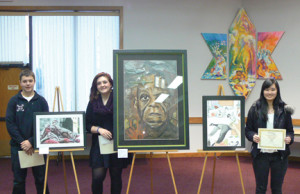 Winners of the Monmouth Festival of the Arts are from left; first-place winner Matt Schall of Tinton Falls; Caitlin Mullally of Red Bank who won second place; and Loribeth Wodell of Point Pleasant who took third place.