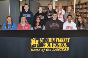 St. John Vianney High School student-athletes celebrating their signing of letters of intent are: standing, from left, Patrick Devenney, Jackie Gallagher, Megan Guilbert, Tara Connelly and Courtney Thompson; and sitting, from left, Laura Dramis, Shelagh Kerrisk, Kayla Troisi, Justin Gille, Julanee Prince and Erica Boyle. Photo Courtesy of St. John Vianney High School