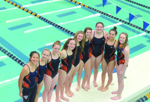 Trinity Hall is only in its inaugural year but swimmers from the all-girls school have qualified for the New Jersey State Interscholastic Athletic Association's Meet of Champions. Team members are, from left Jasmine Sanchez, Lizzie Castellano, MacKenzie Knox, Caroline Gmelich, Grace Modderman, Kali Magnusson, Abby Marcin, Malia Wolf and Lily Scott.