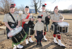 Doing double-duty this month for a host of St. Patrick's Day events are members of the Pipes and Drums of the Atlantic Watch from Red Bank, including, from left, Linda Cooper, Jim Whyte, Archie Laird, Thomas Cooper and 8-year-old David Cooper. They will be among the units in the Rumson Parade on Sunday, March 9.