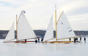 The North Shrewsbury Ice Boat and Yacht Club's Rocket, right, gets ready for a hard-water sail on the Hudson River with the Jack Frost from the Hudson River Ice Yacht Club.