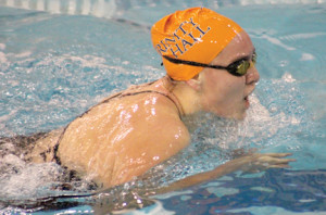 Trinity Hall varsity swimmer Abigail Marcin competes during a recent swim meet. Courtesy Melissa Whelan