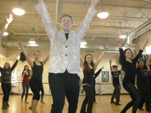 "Red Bank Regional student Bobby Davis leads dancers through their rehearsal of a number from ""42nd Street."" Courtesy RBR"