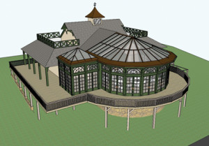Plans are in the works to construct a new restaurant, pictured in an architectural rendering, at Monmouth Park racetrack.
