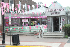 The Broadway Diner in Red Bank, aka Pink Bank, has been a Pink Partner for the Paint the Town Pink campaign since 2007. A complete list of partners is available at PaintTheTownPink.com.