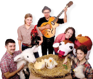 "The cast of ""Hatched: Life on the Farm"" – puppets and puppeteers – aim to entertain the youngest of audience members, 2- to 6-year-olds. Courtesy Two River Theater"