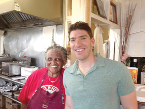 Nicholas Harary with Martha Lou, whose popular fried chicken has been written up by food magazines and publications.
