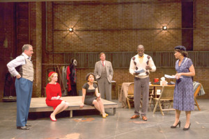 "Members of the cast of ""Trouble in Mind"" are, from left, Steven Skybell, Hayley Treider, Amirah Vann, Brian Russell, McKinley Belcher III and Brenda Pressley. --Courtesy Two River Theater"