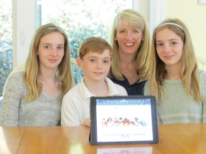 Rumson mom Courtney Setteducate and her children, 13-year-old twins, Kate, left, and Alexis, right, and 11-year-old Will, have developed a website, KidsBookNook.org, that offers kids and parents suggestions and reviews of books aimed at young readers. Photo by John Burton