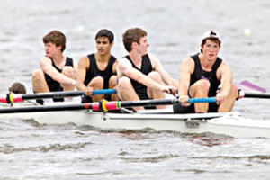 Capturing a first-place finish in the boys JV4 boat are, from left, Matt Bavuso, Ben Cooper, Brendan Edwards, and Sheridan Camarata. Partially hidden is coxswain Kaitlin Hill.  --Photo Courtesy RFH