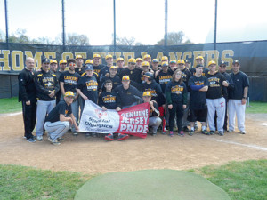 Baseball team members from St. John Vianney High School and Special Olympics New Jersey pose on the field to commemorate their joint practice earlier this month. --Courtesy SJV