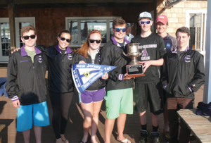 RFH sailing team members displaying their NJISA championship trophy are, from left, Teddy Schroeder, Addie Sellig, Charlotte List, Billy Perkins, Connor Swikart, Michael Munger and Evan Lenza.