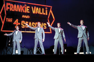 "John Lloyd Young, Erich Bergen, Vincent Piazza and Michael Lomenda as The Four Seasons in ""Jersey Boys."""