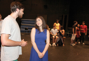 "Rehearsals continue for Brookdale's Summer Shakespeare Ensemble's production of ""The Winter's Tale"" at the college's Performing Arts Center on the Lincroft campus. Vivian Viera, portraying Perdita, practices her lines with Anthony Potter, who is playing the role of Polixenes, during a Sunday, June 29, rehearsal."