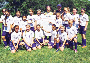 Members of the Rumson U11 girls soccer team are, front row, from left, Cassidy Cashion, Ellie Beaudreault, Sophia Sabino, Isabella Ingrassia, Brooke Bruno and Lilly Frick; and back row, Brooke Stratton, Chloe Rosen, Bradon Chesslock , Kelsey Champeau, Kylie Looney, Kendall Difazio, Avery O'Day, Brynne Pritchard, Grace Kelleher, Adeline Horan and Sophia Mahedy.