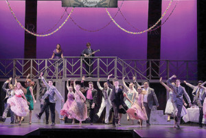 "The cast of Phoenix production's' ""Grease"" sing ""Hand Jive"" on the Count Basie Theatre stage."