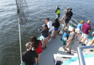 Passengers on the Atlantic Star try to catch some decent size fish about 2 miles out in the Sandy Hook Bay. Photo by John Burton