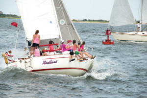Emily Smith and crew aboard Radiant race to victory in the Atlantic Highland Yacht Club's Ms. Race last Saturday. Photo Courtesy of Jeff Smith
