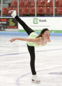 Lexi Loughlin performs a spiral at Middletown Ice World.