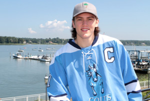 Brendan van Riemsdyk, the youngest of three brothers, has graduated, ending an era for the Christian Brothers Academy ice hockey team as he goes on to the Islanders Hockey Club in Massachusetts. His two brother, James and Trevor, play in the NHL. --Photo by Scott Longfield