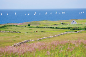 The view from Lewis Farm on Block Island sometimes includes a fleet of sailboats. Courtesy of the Block Island Tourist Council