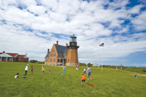Southeast Lighthouse on Mohegan Bluffs was built in 1875. Courtesy of the Block Island Tourist Council