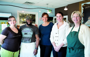 Marie Jackson, center, and her Flaky Tart crew. From left: Meeghan Kileen, George Le Grande, Jackson, Laura Martelli and Cathy Fisher. --Tina Collela