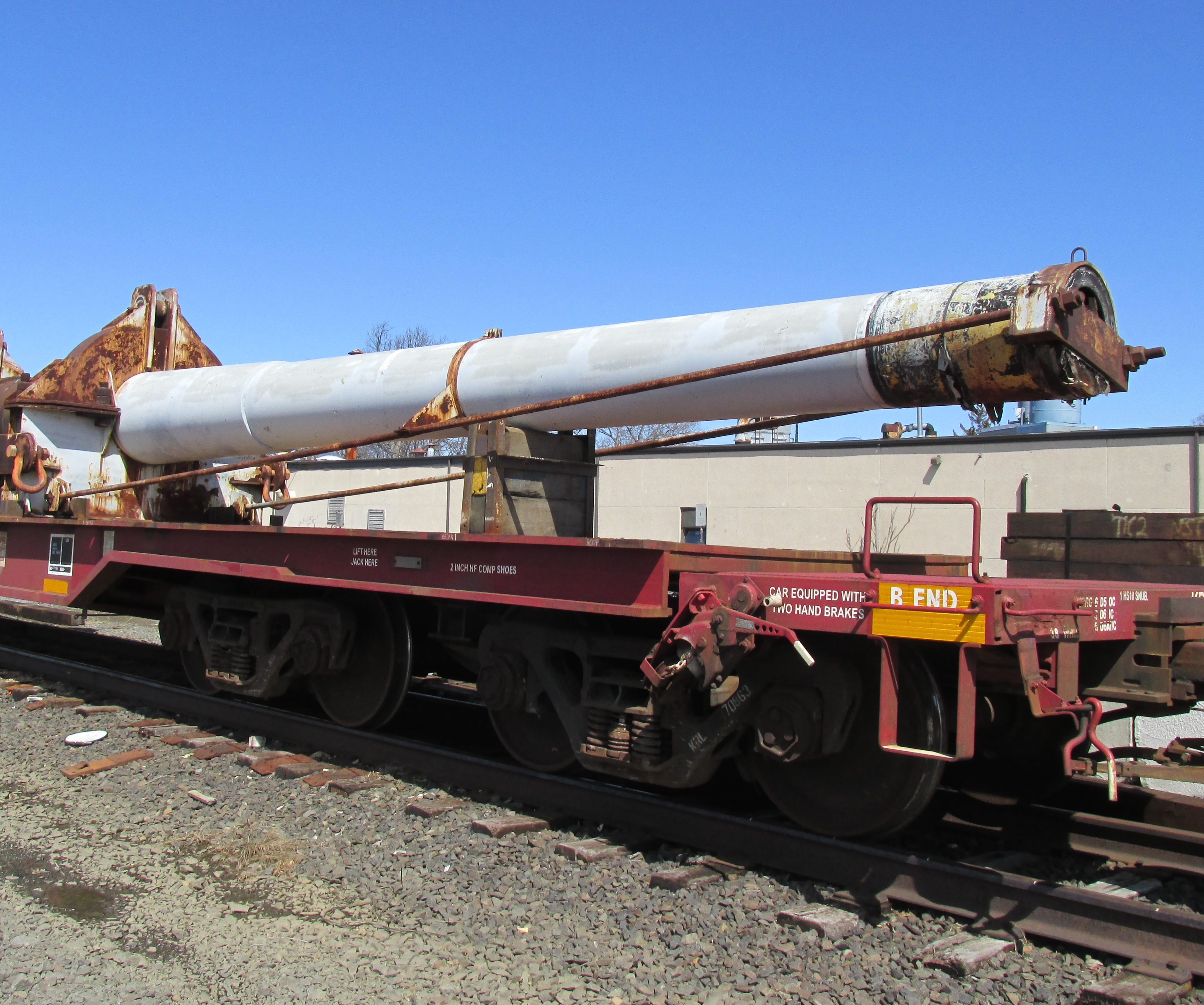 The cannon arrived at the Conrail rail yard on Pearl Street on Red Bank's west side on Sunday, March 22, 2015. Photo: John Burton / The Two River Times