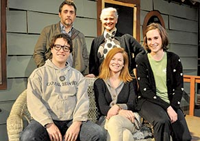 "The Holmdel Theatre Company rehearse the upcoming production of ""Proof:"" From left, stand- ing: Eric Rolland*, Kathy Hendrickson; seated: John Bergeron, Colleen Clinton* and Amanda Deltuvia. *Appearing courtesy of Actors' Equity Association."