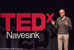 Phil Murphy of Middletown spoke about his new non-profit, New Start New Jersey, at the TEDxNavesink event at Monmouth University. Photo credit: Jennifer Bennett