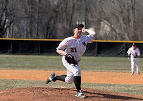 Middletown North's T.J. Vivian (21) pitched five innings of one- hit ball and fanned four batters during last Thursday's 4-2 win against A North rival Freehold Boro giving first-year head coach Justin Nathanson his first career win. Photo by Sean Simmons