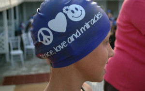 Profits from a swim cap fundraiser will be donated to the family of Molly Richards. The 3-year old died on July 6 of cancer. Photo: Jaclyn Shugard