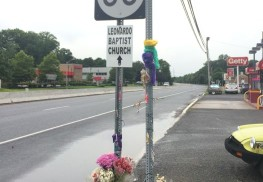 A roadside memorial at the intersection on Route 36 where a 15-year old was fatally struck. Photo credit: James Romano