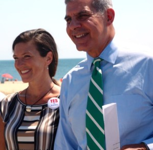 Sea Bright Mayor Dina Long and Sen. Joseph Kyrillos at the Shore Protection Fund press conference. Photo: Liz Sheehan