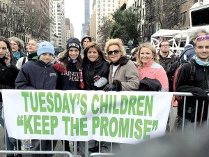 From left, Rodney, Dorothea and Pat Wotton with supporters of Tuesday's Children, the non- profit that promotes long-term healing in all those directly impacted by the events of September 11, 2001.
