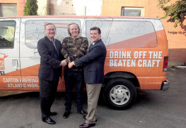 Officials showed their support for Carton Brewing, which has been approved for a $1.25 million line of credit. From left: Atlantic Highlands Councilman Peter Doyle, co-owner, Carton Brewing; Augie Carton; and Tim Lizura, president and CEO NJ Economic Development Authority.