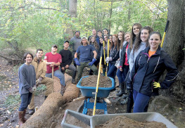 Volunteers shored up the eastern bank of Murray Pond at Poricy Park on Saturday. The team included members of the Middletown Township High School North Environmental Club, theTownship Dept. of Public Works and the Middletown Green Team.