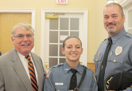 Mayor John Ekdahl (l.) and Police Chief Scott Paterson welcome Rumson's newest and first female police officer, Grace Maggiulli. Photo John Burton