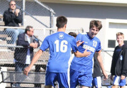 Josh DeFino (16) of Shore Regional congratulates teammate JT Kessler (13) after scoring one of his four goals to help the Blue Devils improve to 15-0 this season. Photo: Sean Simmons