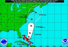 Hurricane Joaquin's projected path as of 8 p.m. Oct. 1. Credit: National Hurricane Center