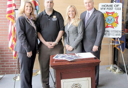 "Announcing the new ""Honoring Our Heroes"" veterans discount program on Oct. 27 in Asbury Park was Monmouth County Freeholder Deputy Director Serena DiMaso, VFW Post 1333 Commander Frank Brogna, County Clerk Christine Giordano Hanlon and Freeholder John P. Curley. Photo: Monmouth County"