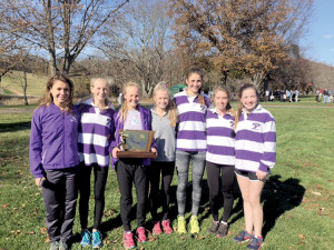 RFH Girls Cross Country team champs, from left to right: Becca Ley, Ryanne Mulligan, Emily Hellman, Cameron Irvine, Morgan Steinhacker, Sarah Nelson, and Julia Tambaro. Courtesy Tom Miller