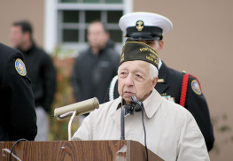 World War II veteran Tony Bucco spoke to NJROTC students at MAST on Veterans Day. Courtesy Kathy Jeys