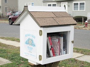 The Little Free Library established by the Rotary Club of Red Bank, the corner of Shrewsbury Avenue and Bank Street. Photo: John Burton