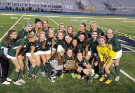 The undefeated Colts Neck girls soccer team fresh off their triumph against Northern Highlands at Kean University Nov. 21. They took home the NJSIAA Group III state title. Courtesy Rick Arnao
