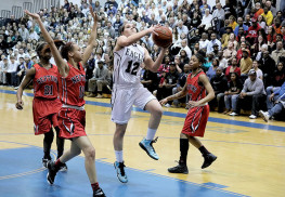 Stephanie Karcz (#12) of Middletown South, shown in game against Neptune last season, averaged 17 points per game for the Eagles. File Photo: Sean Simmons